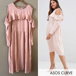 ASOS Cold Shoulder Ruffled Midi Dress